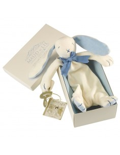 Maud'n Lil - Doudou lapin plat en coton bio - bleu
