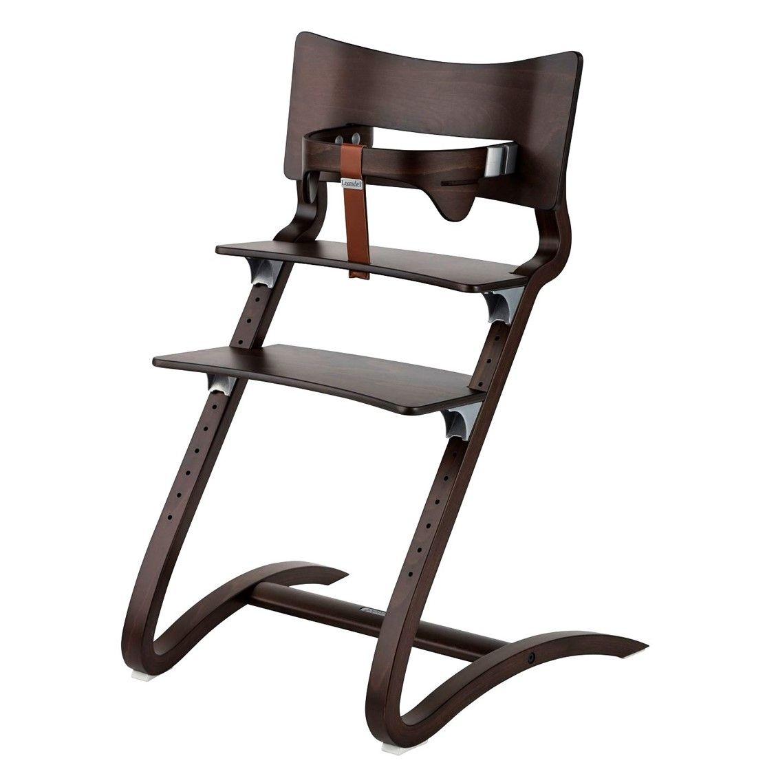 Chaise haute bébé design en noyer leander