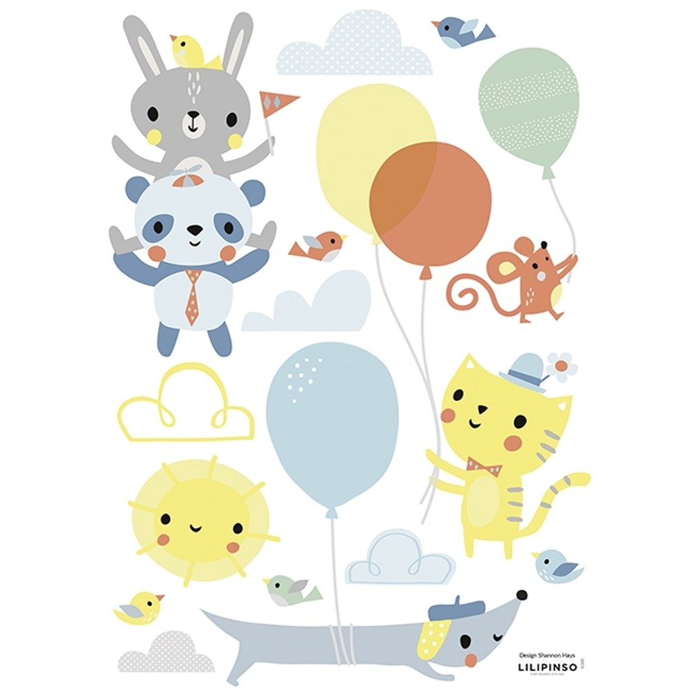 stickers chambre bebe animaux et ballons lilipinso
