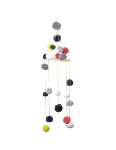 mobile pompon multi color coton bio