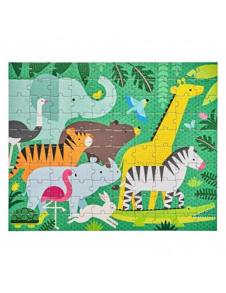 puzzle double face carton recycle jungle giraffe zebre