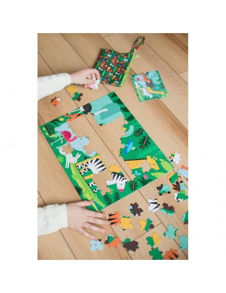 puzzle double face carton recycle jungle enfant